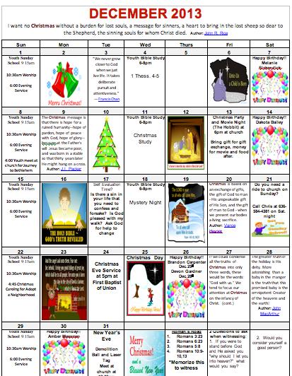 December 2013 Youth Calendar